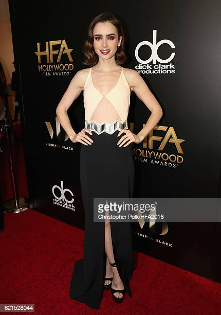Actress Lily Collins attends the 20th Annual Hollywood Film Awards at The Beverly Hilton Hotel on November 6 2016 in Beverly Hills California