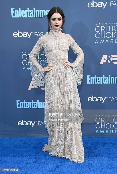 Actress Lily Collins attends The 22nd Annual Critics' Choice Awards at Barker Hangar on December 11 2016 in Santa Monica California