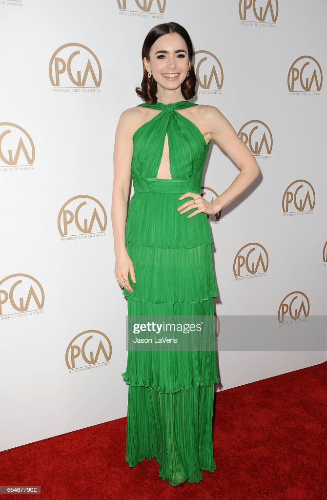 Actress Lily Collins attends the 28th annual Producers Guild Awards at The Beverly Hilton Hotel on January 28, 2017 in Beverly Hills, California.