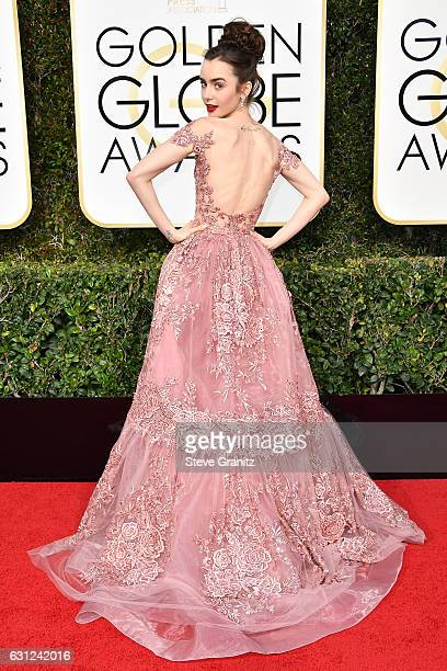 Actress Lily Collins attends the 74th Annual Golden Globe Awards at The Beverly Hilton Hotel on January 8 2017 in Beverly Hills California