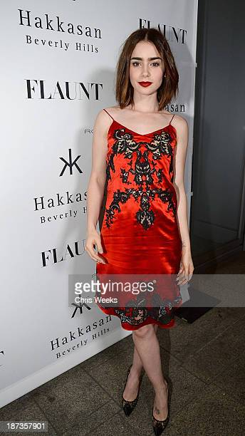 Actress Lily Collins attends the Flaunt Magazine November issue party at Hakkasan on November 7 2013 in Beverly Hills California