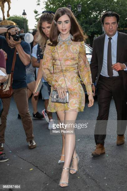 Actress Lily Collins attends the Miu Miu 2019 Cruise Collection Show at Hotel Regina on June 30 2018 in Paris France