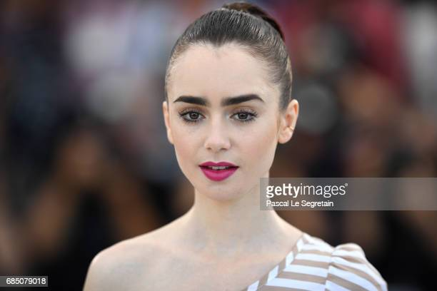Actress Lily Collins attends the Okja photocall during the 70th annual Cannes Film Festival at Palais des Festivals on May 19 2017 in Cannes France