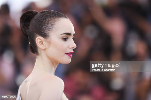Actress Lily Collins attends the 'Okja' photocall during the 70th annual Cannes Film Festival at Palais des Festivals on May 19 2017 in Cannes France