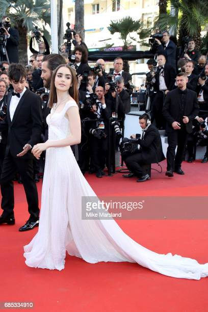 Actress Lily Collins attends the 'Okja' screening during the 70th annual Cannes Film Festival at Palais des Festivals on May 19 2017 in Cannes France