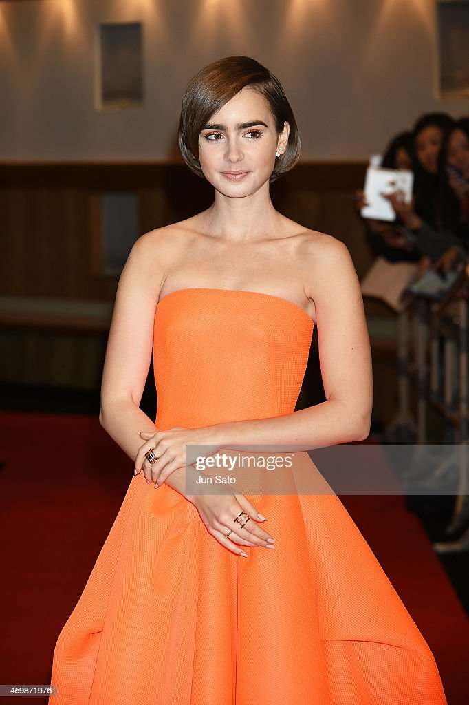 Actress Lily Collins attends the premiere for 'Love, Rosie' at Harajuku Quest Hall on December 3, 2014 in Tokyo, Japan.