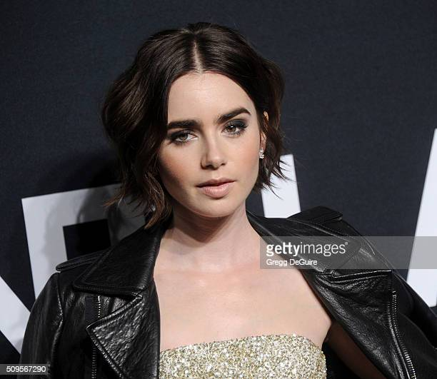 Actress Lily Collins attends the Saint Laurent show at The Hollywood Palladium on February 10 2016 in Los Angeles California