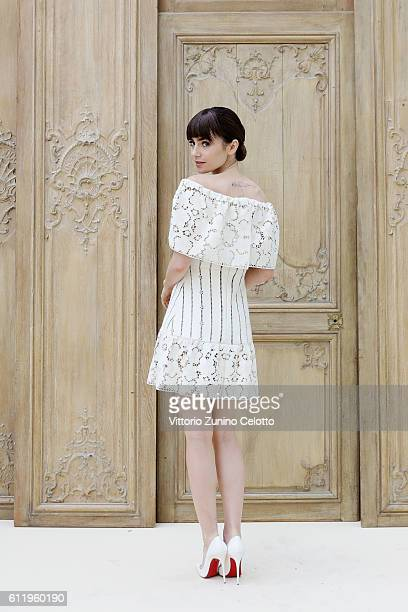 Actress Lily Collins attends the Valentino show as part of the Paris Fashion Week Womenswear Spring/Summer 2017 on October 2 2016 in Paris France