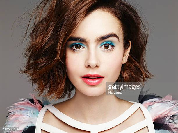Actress Lily Collins is photographed for Glamour UK on January 30 2015 in Los Angeles California PUBLISHED IMAGE