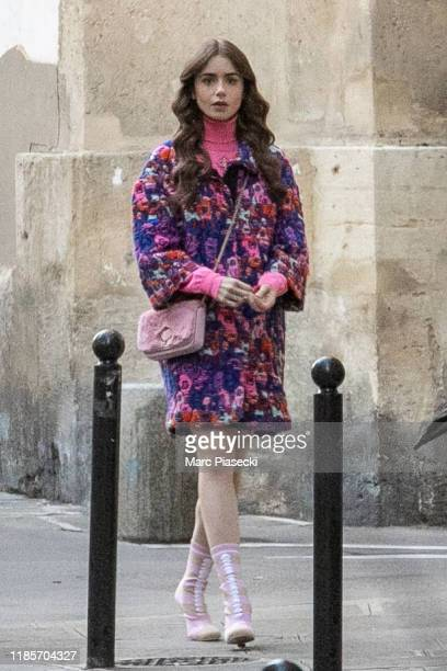 Actress Lily Collins is seen on the set of 'Emily in Paris' on November 05 2019 in Paris France
