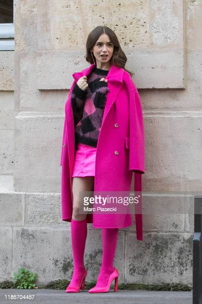 Actress Lily Collins is seen on the set of 'Emily in Paris' on November 05, 2019 in Paris, France.