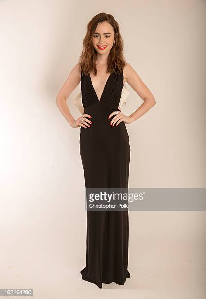 Actress Lily Collins poses for a portrait during the 15th Annual Costume Designers Guild Awards with presenting sponsor Lacoste at The Beverly Hilton...