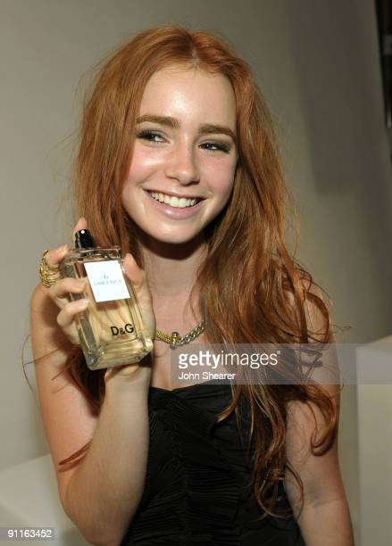 Actress Lily Collins poses with the DG fragrance bar during the 7th Annual Teen Vogue Young Hollywood Party held at Milk Studios on September 25 2009...