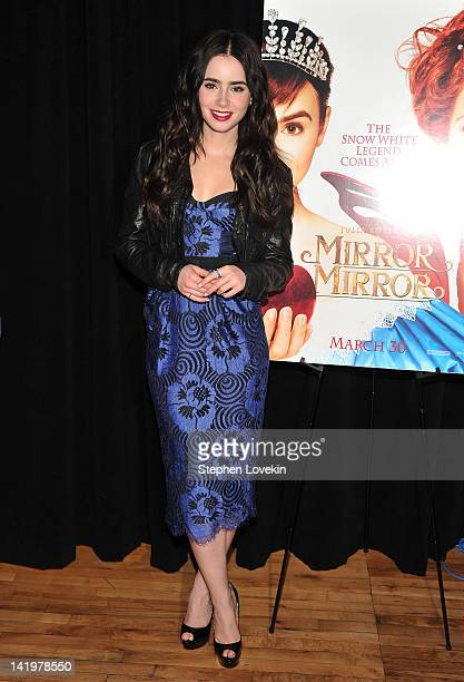 Actress Lily Collins promotes Mirror Mirror during the Meet the Actor series at the Apple Store Soho on March 27 2012 in New York City