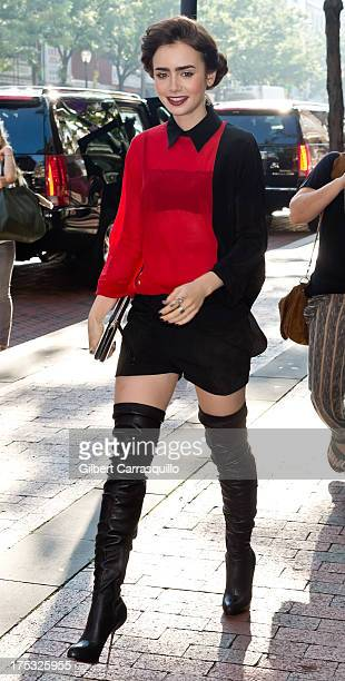 Actress Lily Collins visits Fox 29's Good Day at FOX 29 Studio to promote The Mortal Instruments City of Bones on August 2 2013 in Philadelphia...