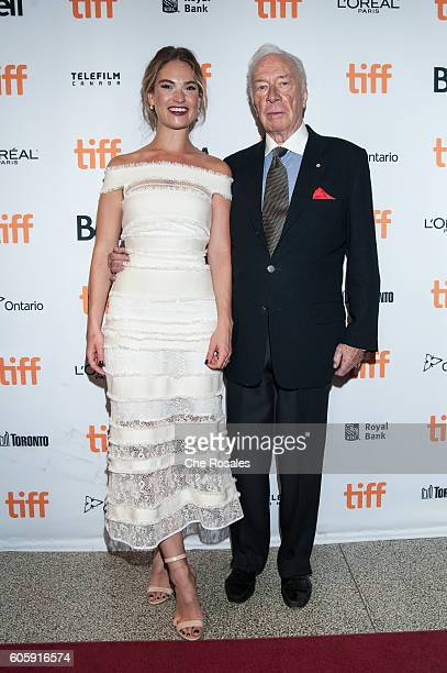 Actress Lily James and Actor Christopher Plummer attend the premier of The Exception at The Elgin on September 15 2016 in Toronto Canada