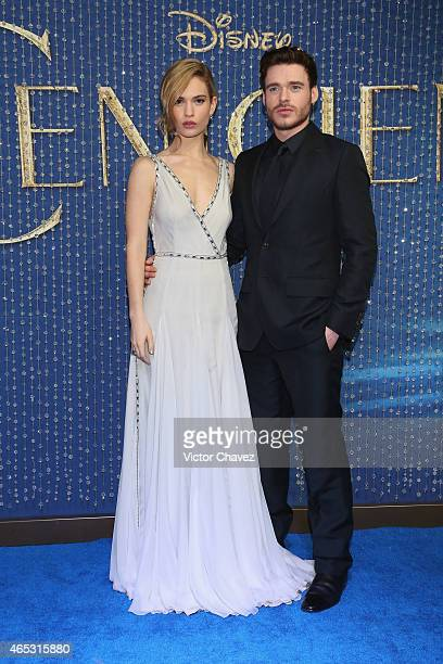 Actress Lily James and actor Richard Madden attend the 'Cinderella' Mexico City premiere at Antara Polanco on March 5 2015 in Mexico City Mexico