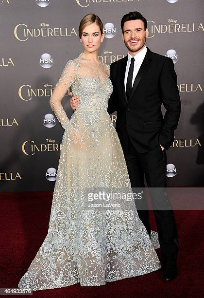 Actress Lily James and actor Richard Madden attend the premiere of 'Cinderella' at the El Capitan Theatre on March 1 2015 in Hollywood California