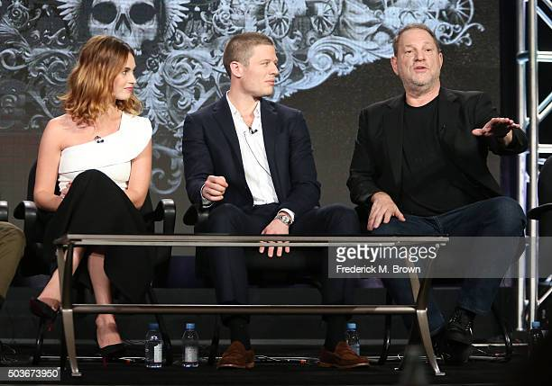 Actress Lily James and James Norton and executive producer Harvey Weinstein speak onstage during War and Peace panel as part of the AE Network...