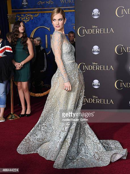Actress Lily James arrives at the World Premiere of Disney's 'Cinderella' at the El Capitan Theatre on March 1 2015 in Hollywood California
