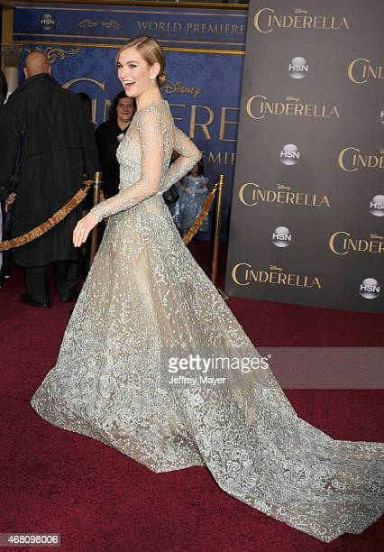 Actress Lily James arrives at the World Premiere of Disney's 'Cinderella' at the El Capitan Theatre on March 1, 2015 in Hollywood, California.