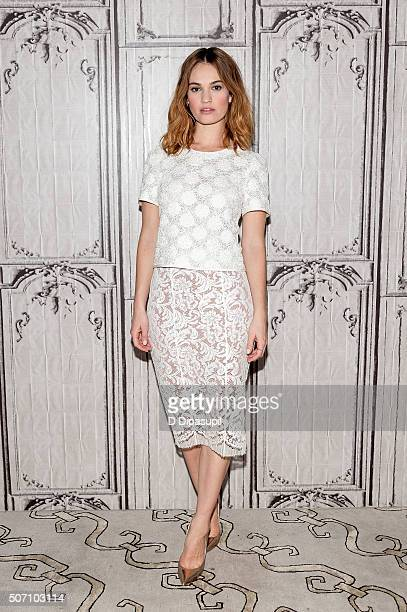 Actress Lily James attends AOL Build Presents 'Pride and Prejudice and Zombies' at AOL Studios In New York on January 27 2016 in New York City