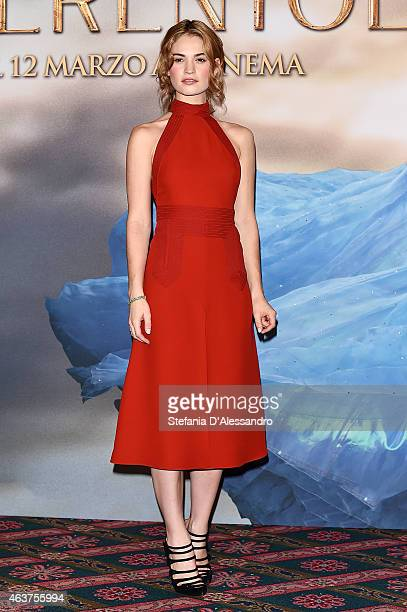 Actress Lily James attends Cinderella Photocall on February 18, 2015 in Milan, Italy.