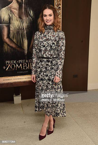 Actress Lily James attends Screen Gem's 'Pride and Prejudice and Zombies' photo call at The London Hotel on January 22 2016 in West Hollywood...