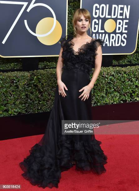 Actress Lily James attends the 75th Annual Golden Globe Awards at The Beverly Hilton Hotel on January 7 2018 in Beverly Hills California