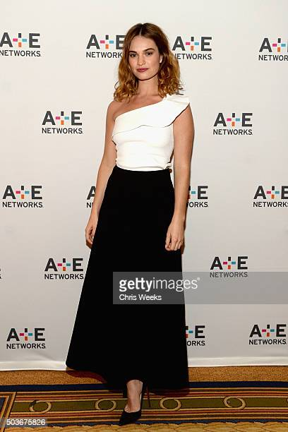 Actress Lily James attends the AE Networks 2016 Television Critics Association Press Tour for War and Peace at The Langham Huntington Hotel and Spa...