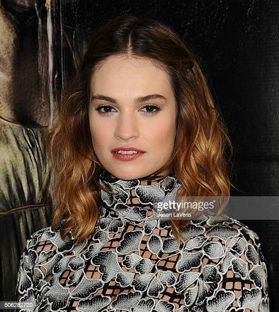 """Actress Lily James attends the cast photo call for """"Pride and Prejudice and Zombies"""" at The London Hotel on January 22, 2016 in West Hollywood,..."""