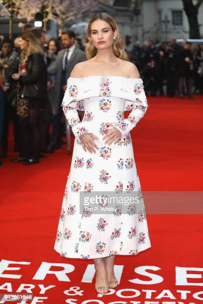 Actress Lily James attends 'The Guernsey Literary And Potato Peel Pie Society' World Premiere at The Curzon Mayfair on April 9, 2018 in London,...