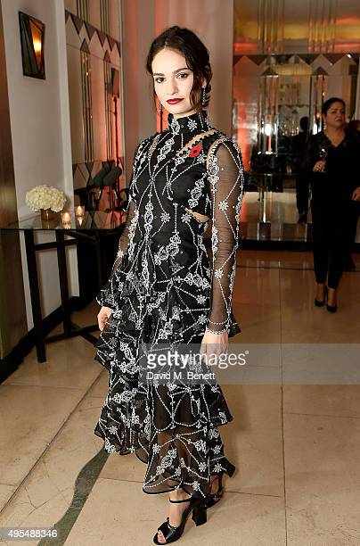 Actress Lily James attends the Harper's Bazaar Women of the Year Awards 2015 at Claridges Hotel on November 3 2015 in London England