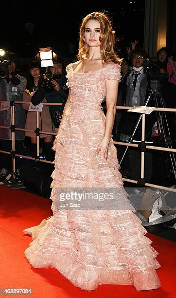 Actress Lily James attends the premiere of Cinderella at Roppongi Hills on April 08 2015 in Tokyo Japan