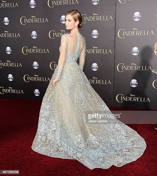 Actress Lily James attends the premiere of 'Cinderella' at the El Capitan Theatre on March 1 2015 in Hollywood California