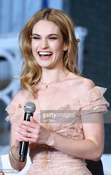 Actress Lily James attends the premiere of 'Cinderella' on April 8 2015 at Roppongi Hills in Tokyo Japan