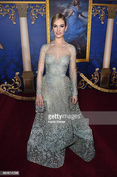 Actress Lily James attends the premiere of Disney's Cinderella at the El Capitan Theatre on March 1 2015 in Hollywood California