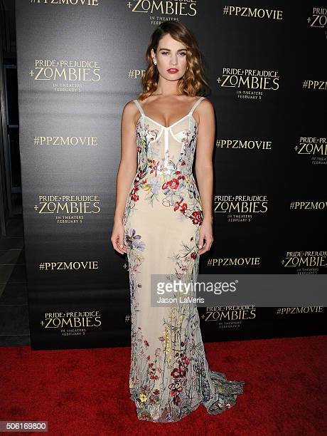 Actress Lily James attends the premiere of 'Pride and Prejudice and Zombies' at Harmony Gold Theatre on January 21 2016 in Los Angeles California