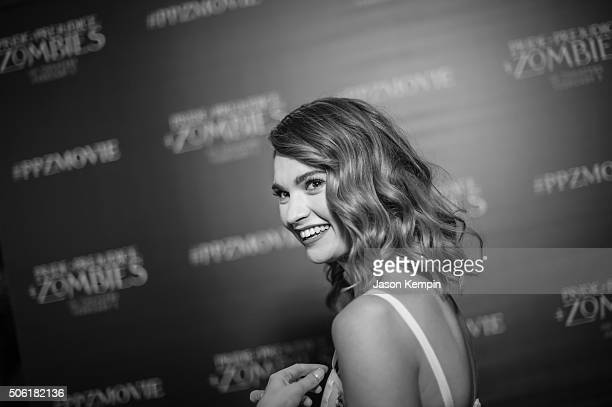 Actress Lily James attends the premiere of Screen Gems' 'Pride And Prejudice And Zombies' on January 21 2016 in Los Angeles California