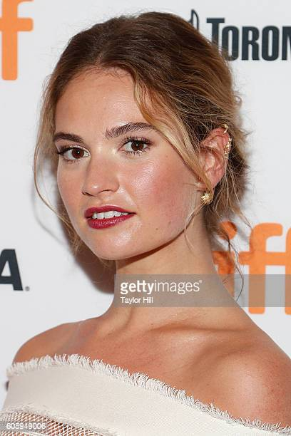 Actress Lily James attends the premiere of 'The Exception' during the 2016 Toronto International Film Festival at Winter Garden Theatre on September...