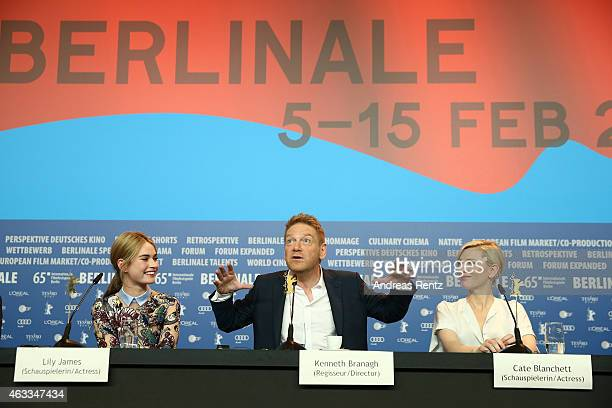 Actress Lily James Director Kenneth Branagh and actress Cate Blanchett attend the 'Cinderella' press conference during the 65th Berlinale...