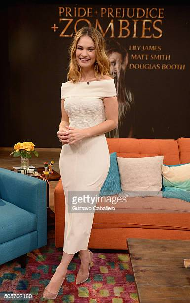 Actress Lily James is seen during on the set of Univisions Despierta America to promote the film Pride and Prejudice and Zombies at Univision Studios...