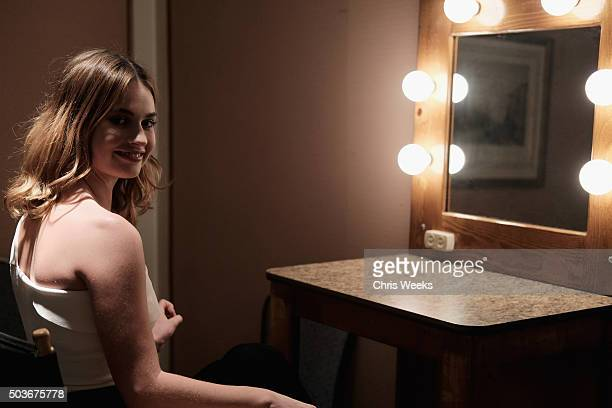 Actress Lily James poses in the green room during the AE Networks 2016 Television Critics Association Press Tour for War and Peace at The Langham...