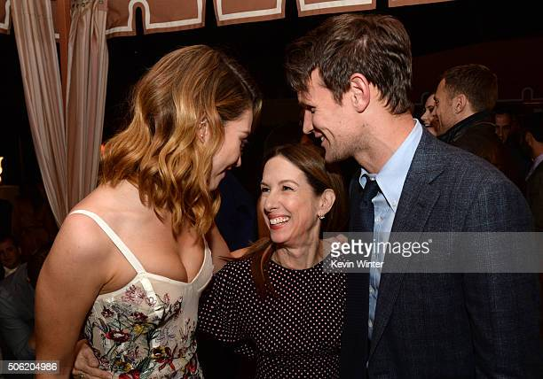 Actress Lily James producer Allison Shearmur and actor Matt Smith pose at the after party for the premiere of Screen Gems' 'Pride and Prejudice and...