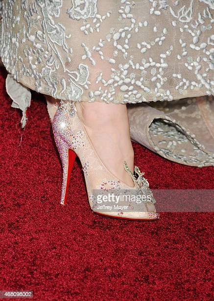 Actress Lily James, shoe detail, at the World Premiere of Disney's 'Cinderella' at the El Capitan Theatre on March 1, 2015 in Hollywood, California.