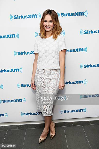 Actress Lily James visits the SiriusXM Studios on January 27 2016 in New York City