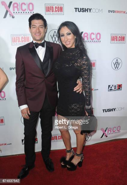 Actress Lily Lane and actor Xander Corvis arrives for the 33rd Annual XRCO Awards Show held at OHM Nightclub on April 27 2017 in Hollywood California