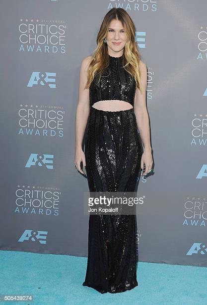 Actress Lily Rabe arrives at The 21st Annual Critics' Choice Awards at Barker Hangar on January 17 2016 in Santa Monica California