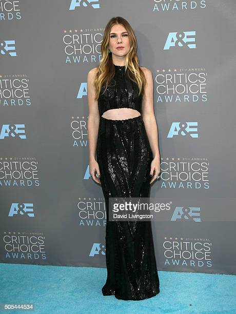 Actress Lily Rabe attend The 21st Annual Critics' Choice Awards at Barker Hangar on January 17 2016 in Santa Monica California