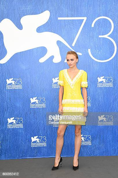 Actress Lily Rose Depp attends a photocall for 'Planetarium' during the 73rd Venice Film Festival at Palazzo del Casino on September 8 2016 in Venice...